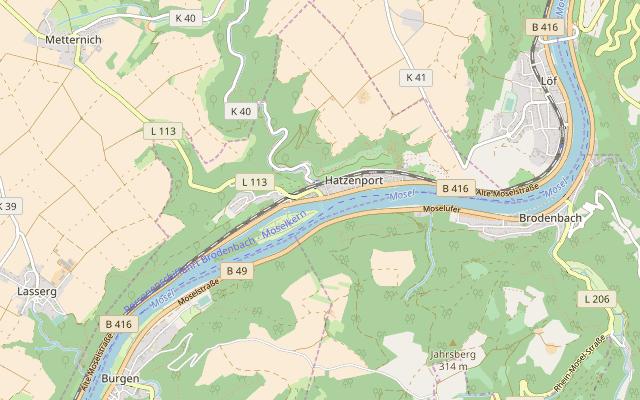 Karte von Hatzenport, © OpenStreetMap