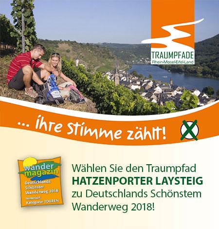 Wählen Sie den Hatzenporter Laysteig zu Deutschlands schönstem Wanderweg 2018!